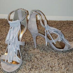 Beige tassel open toe heels